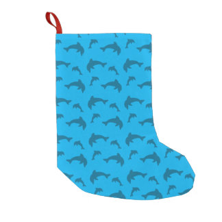Sky blue dolphin pattern small christmas stocking