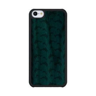 Sky blue dolphin pattern carved® walnut iPhone 5C slim case