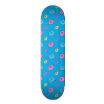 Sky blue donut pattern skateboard