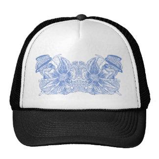 Sky Blue Double Flowers Mesh Hat