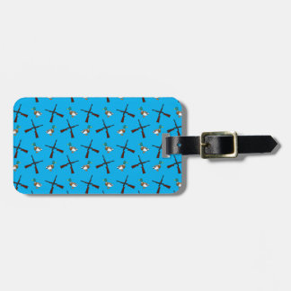 Sky blue duck hunting pattern tag for luggage