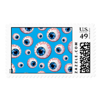 Sky blue eyeball pattern postage stamps