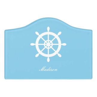 Sky Blue Family Nautical Helm Personalized Door Sign