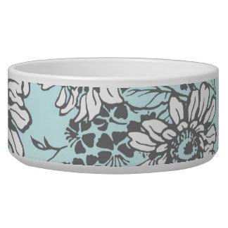 Sky Blue Floral Custom Dog Bowl