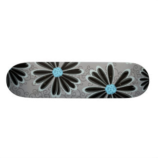 Sky Blue Floral Dotted Tribal Daisy Tattoo Pattern Skateboard
