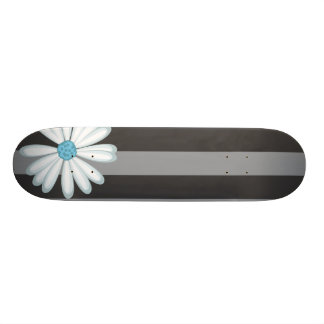 Sky Blue Floral Racing Tribal Daisy Tattoo Pattern Skateboard