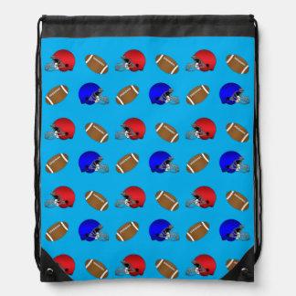 Sky blue footballs helmets pattern drawstring backpacks