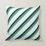 [ Thumbnail: Sky Blue, Forest Green, Gray, Black & Light Cyan Throw Pillow ]