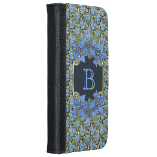 Sky Blue Forget-me-not Wildflowers Monogram iPhone 6/6s Wallet Case