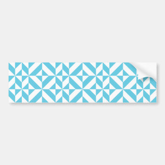 Sky Blue Geometric Deco Cube Pattern Bumper Stickers