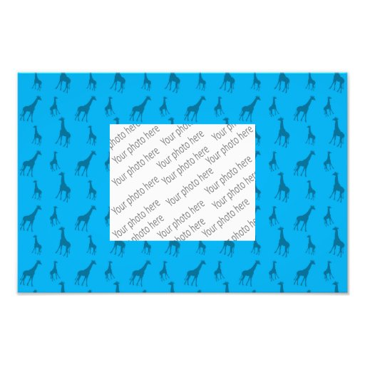 Sky blue giraffe pattern photographic print