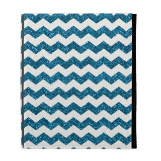 Sky blue glitter chevrons iPad folio cases