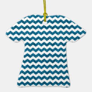 Sky blue glitter chevrons Double-Sided T-Shirt ceramic christmas ornament