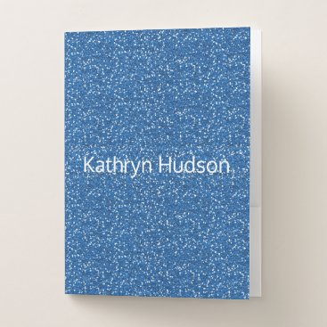 Beach Themed Sky Blue Glitter Custom Pocket Folder