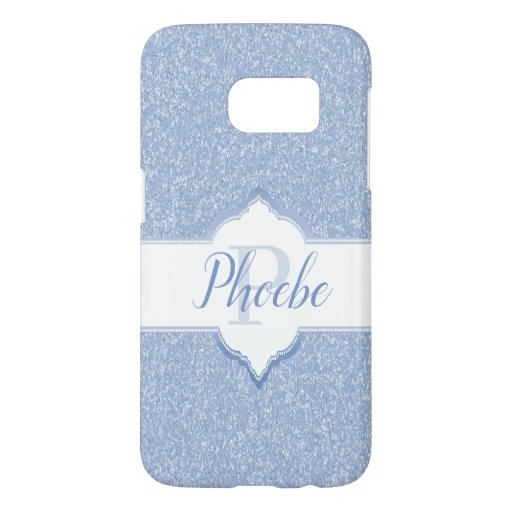 Sky Blue Glitter Monogram Samsung Galaxy S7 Case