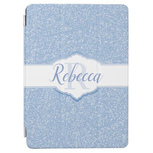 Sky Blue Glitter Monogram iPad Air Cover