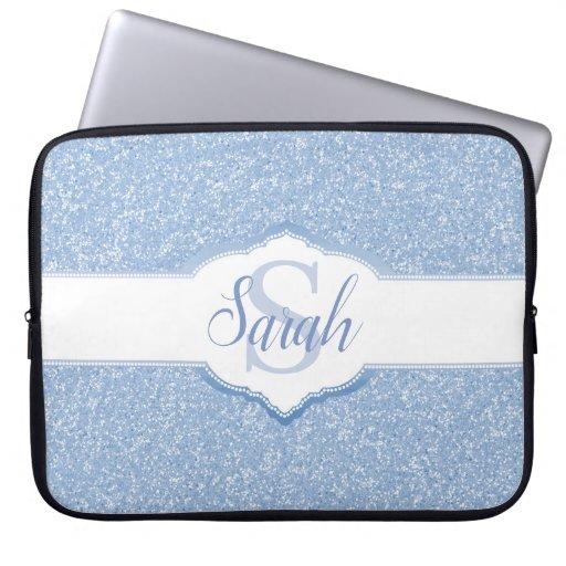 Sky Blue Glitter Monogram Laptop Sleeve