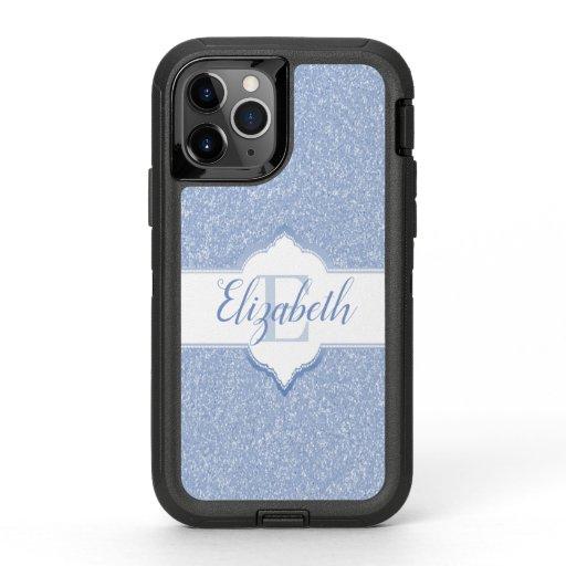 Sky Blue Glitter Monogram OtterBox Defender iPhone 11 Pro Case