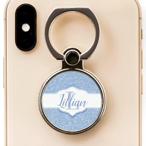 Sky Blue Glitter Monogram Phone Ring Stand