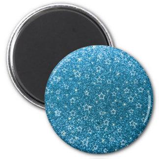 Sky blue glitter stars 2 inch round magnet