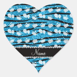 Sky blue glitter zebra stripes cake balloon heart sticker