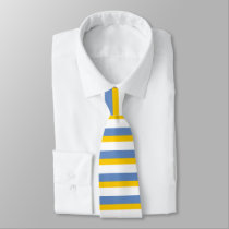 Sky Blue Gold and White Horizontally-Striped Tie