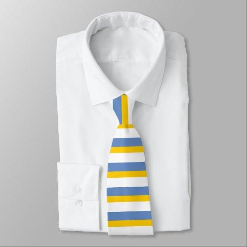 Sky Blue Gold and White Horizontally-Striped Tie