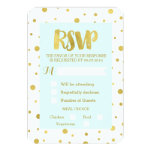 Sky Blue Gold Confetti RSVP Wedding Card