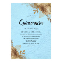 Sky blue & Gold Flowers Quinceanera Party Invite