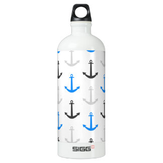 Sky Blue, Gray, Anchors; Nautical Aluminum Water Bottle