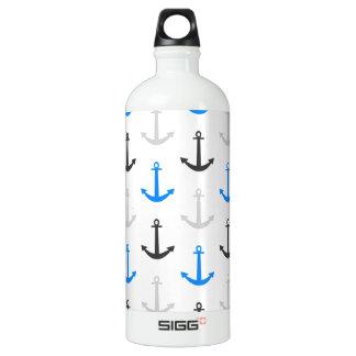 Sky Blue, Gray, Anchors; Nautical Aluminum Water Bottle