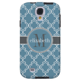 Sky Blue Gray White Moroccan Quatrefoil Monogram Galaxy S4 Case
