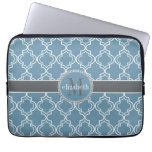 Sky Blue Gray White Moroccan Quatrefoil Monogram Laptop Computer Sleeves