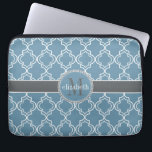 "Sky Blue Gray White Moroccan Quatrefoil Monogram Laptop Sleeve<br><div class=""desc"">Elegant and sophisticated Moroccan quatrefoil style tile in tile pattern for you to personalize with your first name and last initial.  Shown here in sky blue,  white and charcoal gray,  this design was created by Holiday Hearts Designs for HHTrendyCases.</div>"