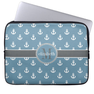 Sky Blue Gray White Ship Anchors Monogram Laptop Sleeves