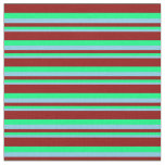 [ Thumbnail: Sky Blue, Green, and Dark Red Colored Stripes Fabric ]
