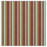 [ Thumbnail: Sky Blue, Green, and Maroon Colored Stripes Fabric ]