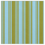 [ Thumbnail: Sky Blue & Green Colored Lined Pattern Fabric ]