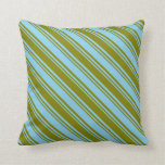 [ Thumbnail: Sky Blue & Green Colored Lined Pattern Pillow ]