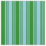 [ Thumbnail: Sky Blue & Green Colored Striped/Lined Pattern Fabric ]