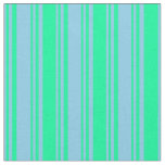 [ Thumbnail: Sky Blue & Green Striped/Lined Pattern Fabric ]