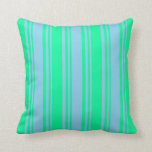 [ Thumbnail: Sky Blue & Green Striped/Lined Pattern Pillow ]