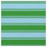 [ Thumbnail: Sky Blue & Green Stripes Fabric ]