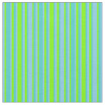 [ Thumbnail: Sky Blue, Green & Turquoise Lines/Stripes Pattern Fabric ]