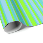 [ Thumbnail: Sky Blue, Green & Turquoise Lines/Stripes Pattern Wrapping Paper ]