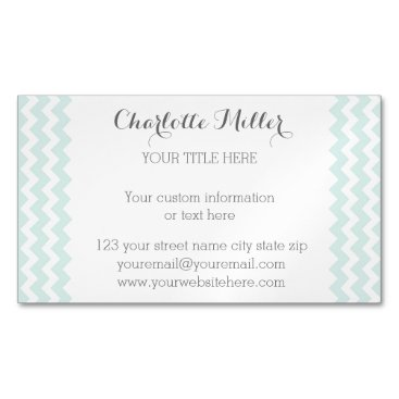 Professional Business Sky Blue Grey Chevron Magnetic Business Card