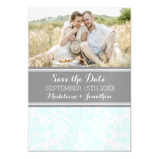 Sky Blue Grey Damask Save The Date Magnetic Card