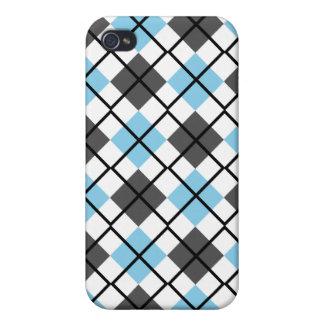 Sky Blue, Grey, White, Black Argyle iPhone 4 Case