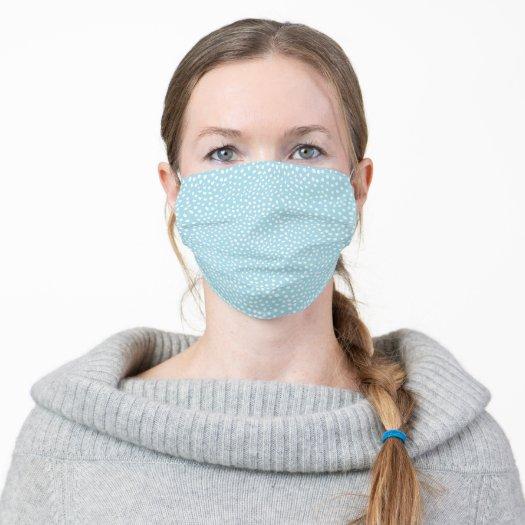 Sky Blue Hand-Drawn Modern Dot Pattern Cloth Face Mask
