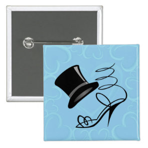 Sky Blue Hearts Top Hat and High Heels button